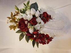 A white and red rose bouquet