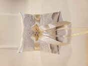 White ring pillow with Champagne and Bling accents