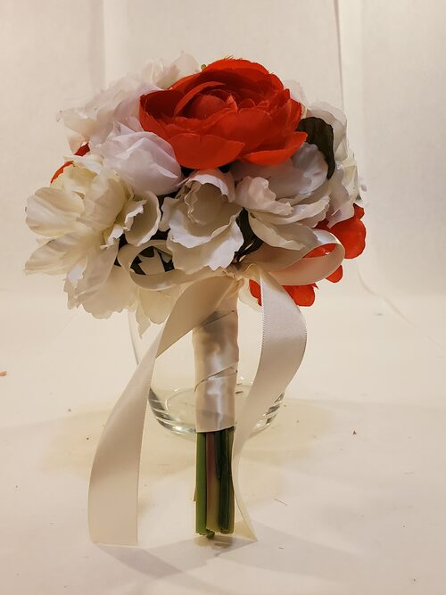 Small white and red peony bouquet