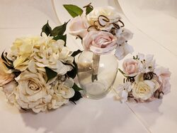 White and blush pink bouquet set