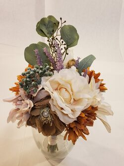 Fall color bouquet with cream, rust and burlap accents