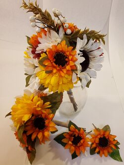 Yellow, Orange and White Sunflower Bouquets with matching Boutonnieres