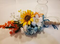 Large sunflower bouquet with white, orange and blue accents