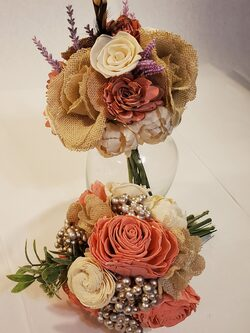 Sola wood flowers and burlap accents